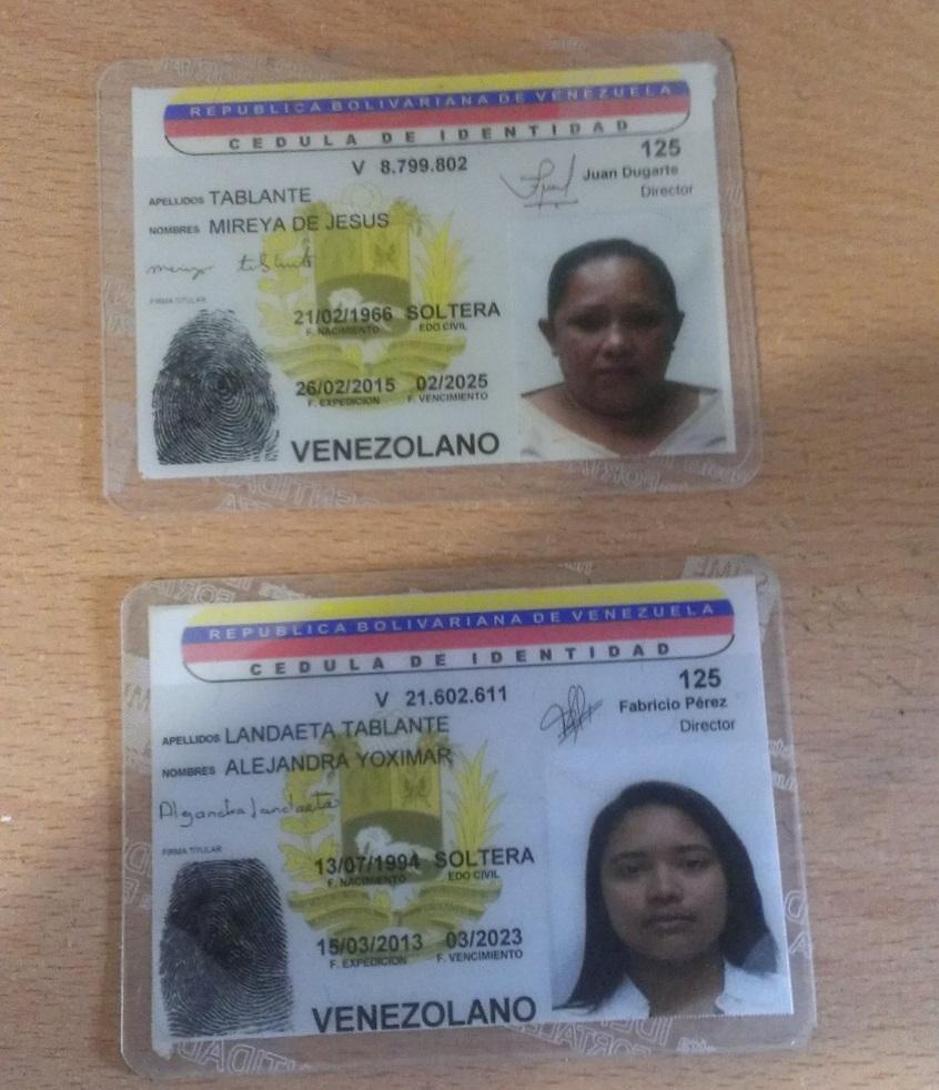 Mireya de Jesús Tablante (49 años)y Alejandra Yoximar Landaeta Tablante (21años). Detenidas
