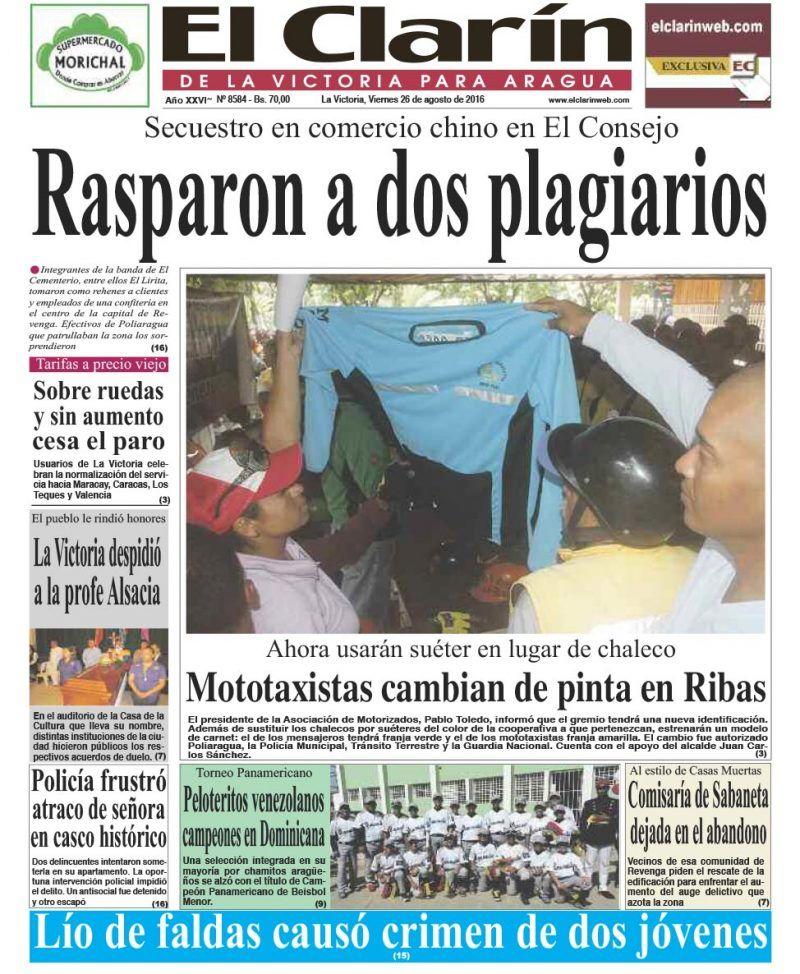 Portada diario El Clarín de La Victoria viernes 26 de agosto de 2016
