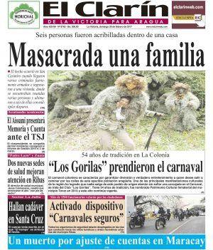 Portada Diario El Clarín de La Victoria Domingo 26 de Febrero de 2017