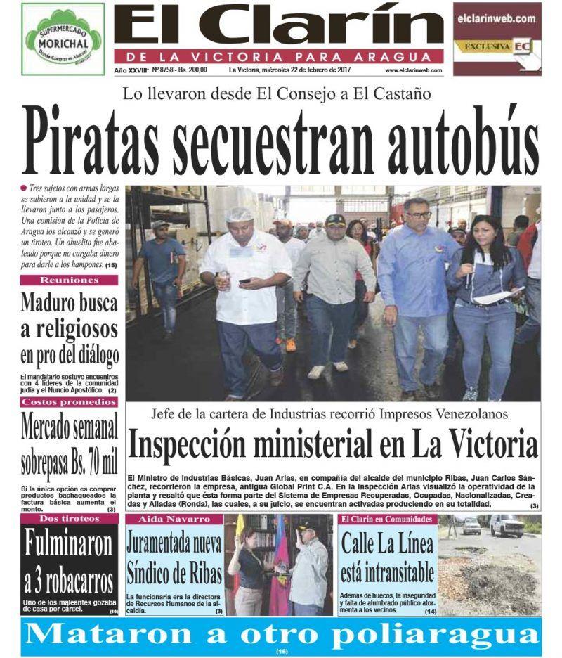 Portada Diario El Clarín de La Victoria Miércoles 22 de Febrero de 2017