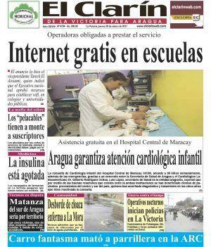 Portada Diario El Clarín de La Victoria Jueves 30 de Marzo de 2017