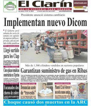 Portada Diario El Clarín de La Victoria Martes 28 de Marzo de 2017