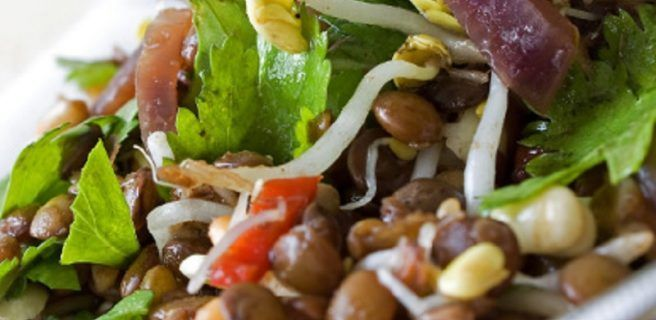 Almuerzo ideal para mantenerte en forma: Ensalada de lentejas