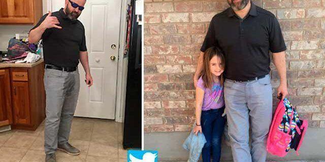 Padre ayuda a su hija a regresar al colegio