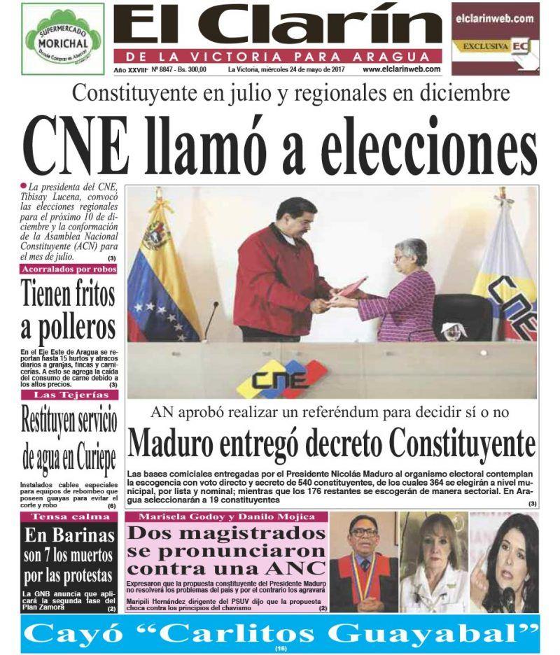 Portada Diario El Clarín de La Victoria Miércoles 24 de Mayo de 2017