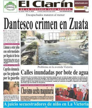 Portada diario El Clarín de La Victoria Martes 30 de mayo de 2017