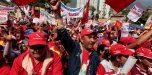 Oficialistas marcharon hasta la Diego Ibarra