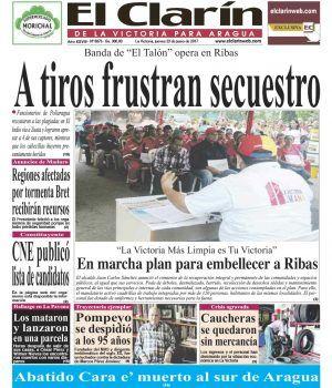 Portada Diario El Clarín de La Victoria Jueves 22 de Junio de 2017