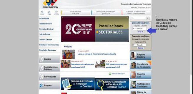 CNE publica registro electoral para la Constituyente