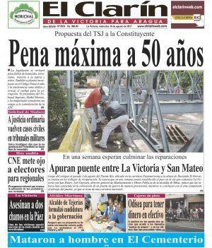 Portada Diario El Clarín de La Victoria Martes 15 de Agosto de 2017