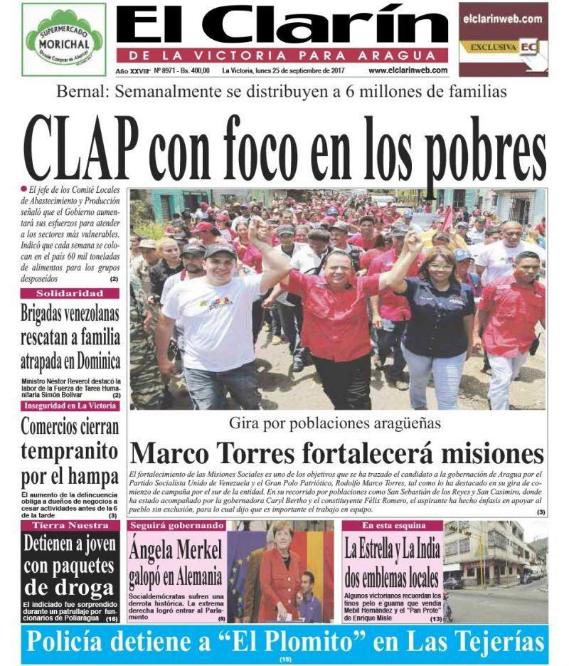 Portada diario El Clarín de La Victoria Lunes 25 de septiembre de 2017