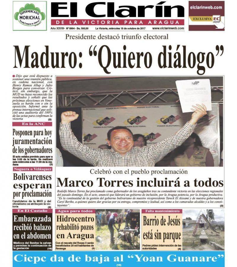Portada Diario El Clarín de La Victoria Miércoles 18 de Octubre de 2017