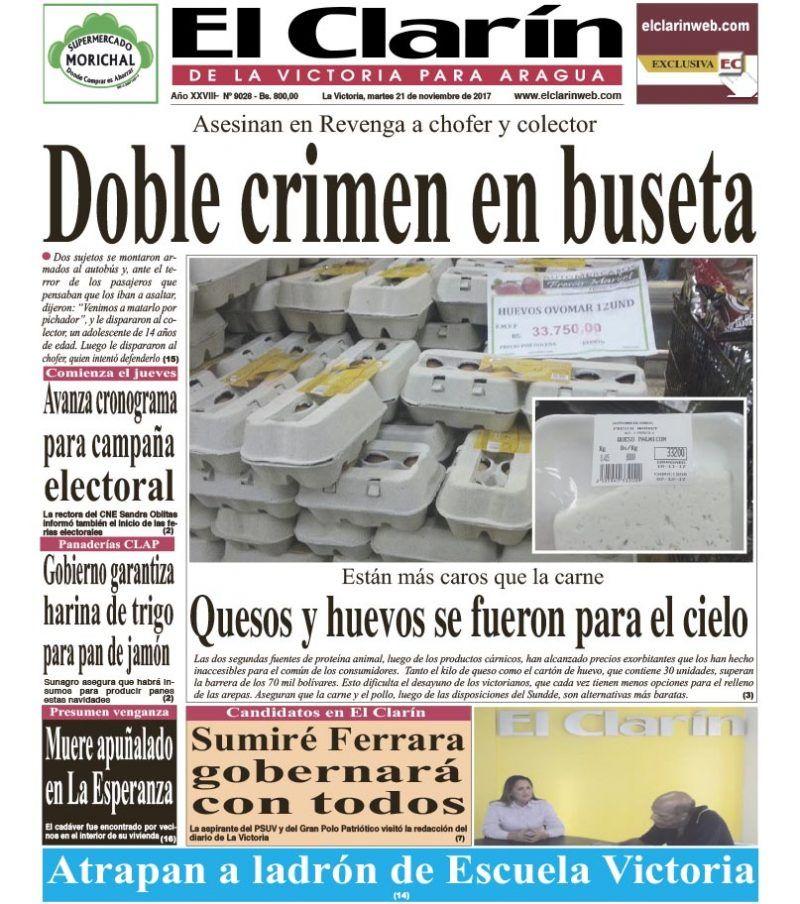 Portada diario El Clarín de La Victoria Martes 21 de noviembre de 2017